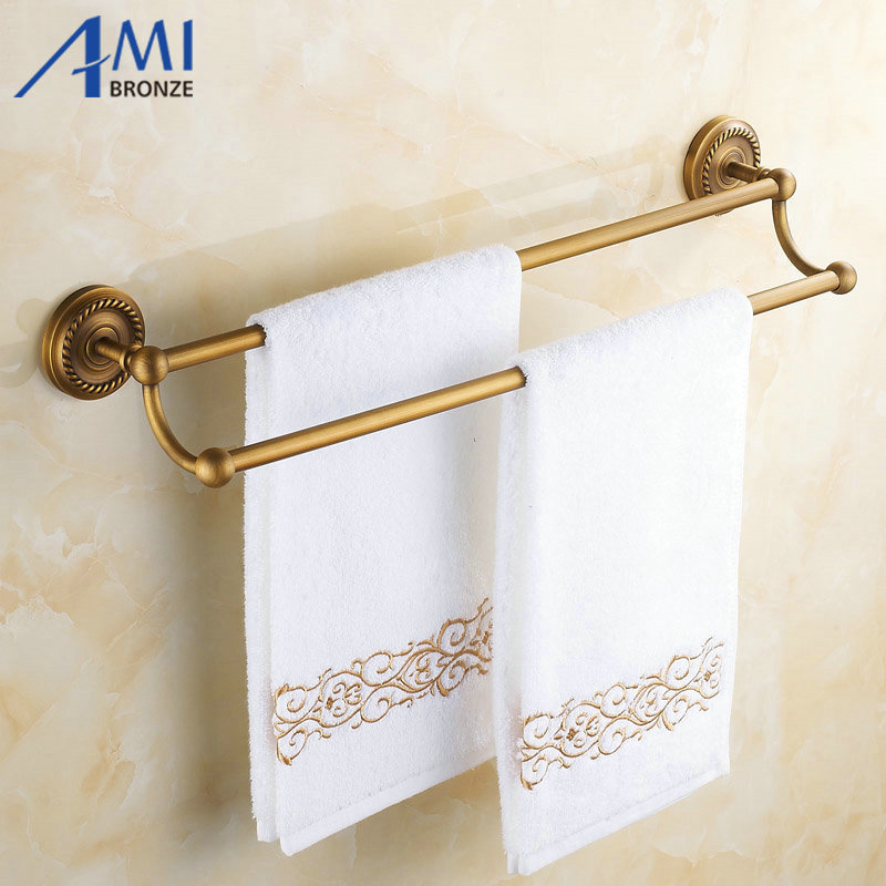 50CM AB1 Series Wall Mounted Fashion Antique Brass Finish Bathroom Accessories Double Towel Bar,Towel Shelf aluminum wall mounted square antique brass bath towel rack active bathroom towel holder double towel shelf bathroom accessories