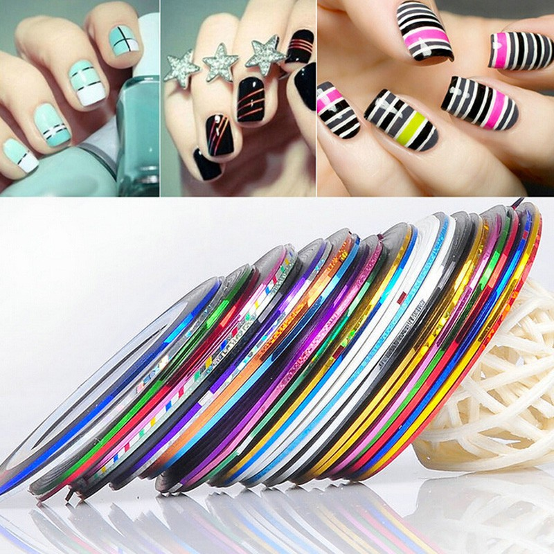 30 Rolls Holographic Nail Line Decal Set Striping Tapes 1mm Adhesive Laser Manicure Nail Decoration Fingernail Sticker Tools 14 rolls glitter scrub nail art striping tape line sticker tips diy mixed colors self adhesive decal tools manicure 1mm 2mm 3mm