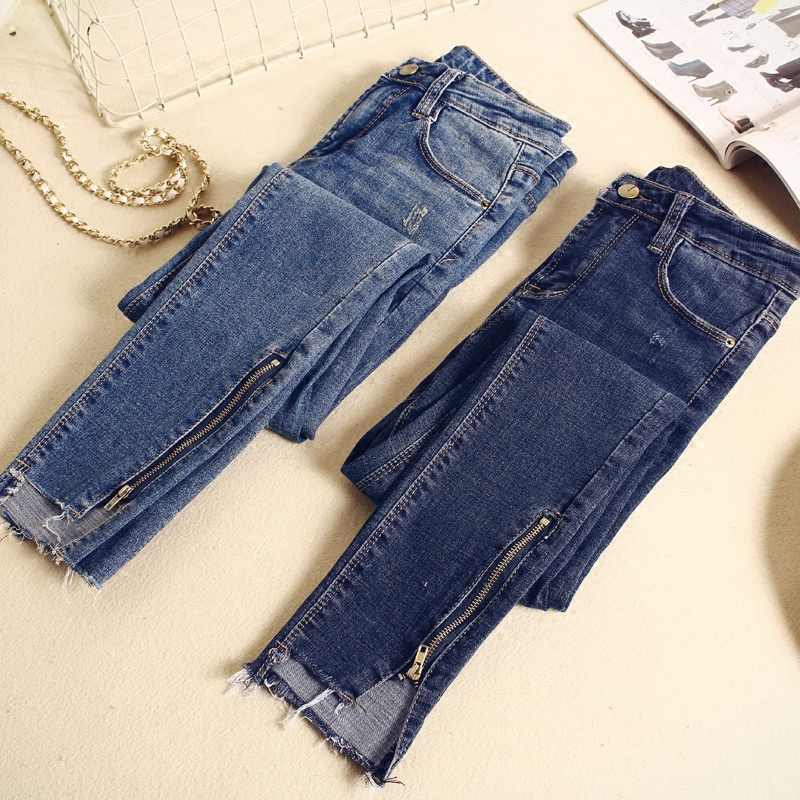 2019 Spring Summer Skinny   Jeans   Woman Vintage Zipper Irregular High Waist   Jeans   Pantalon Femme Pencil Pants Women   Jeans   C4191