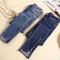 2019 Spring Summer Skinny Jeans Woman Vintage Zipper Irregular High Waist Jeans Pantalon Femme Pencil Pants Women Jeans C4191