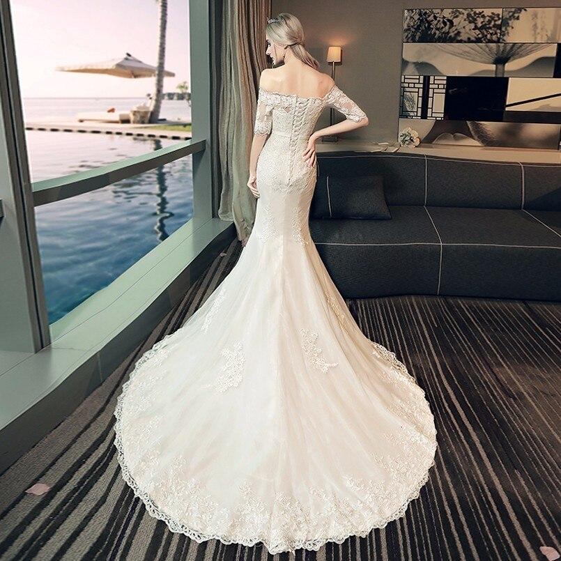 8aff374448 Robe De Mariage 2018 Lace Mermaid Wedding Dresses Short Sleeve Off Shouler  Vintage Boho Wedding Dress Plus Size Vestido De Noiva-in Wedding Dresses  from ...
