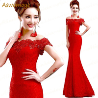 Long Elegant Lace Mermaid Red Evening Dress 2017 Cheap Price Crystal Prom Dresses Boat Neck Party Dress Robe De Soiree