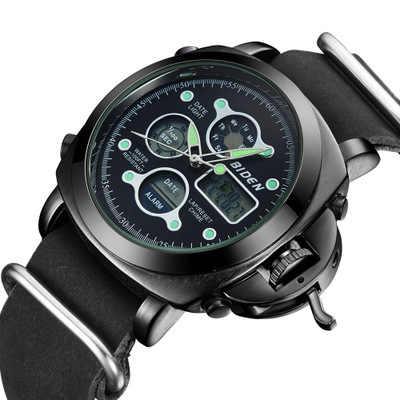 Relojes de pulsera de cuarzo digital para hombre de marca Biden, relojes multifunción de cuero genuino para hombre, movimiento de personas a prueba de agua
