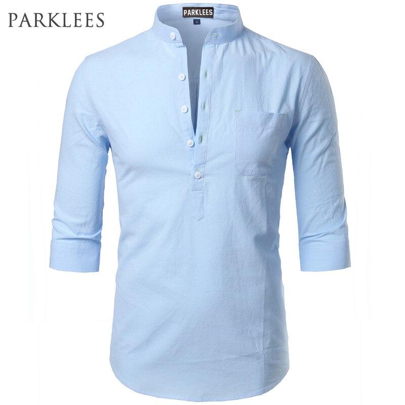 Men Linen Buttons Shirt Collarless Short Sleeve Casual Slim Fit Shirt Top Blouse