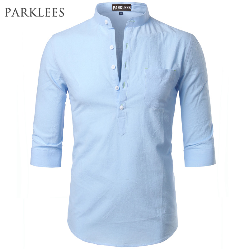 Fashion Cotton Linen Shirt Men Clothes Casual Slim Fit