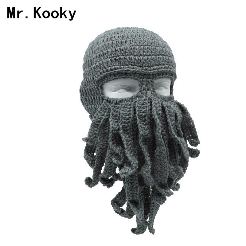 Mr. Kooky Handgemachten Lustige Tentakel Octopus Hat Crochet Cthulhu Bart Beanie männer frauen Stricken Wind Maske Cap Halloween Tier Geschenk