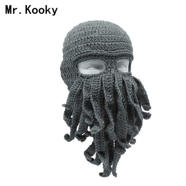 c2860726c69 Mr.Kooky Handmade Funny Tentacle Octopus Hat Crochet Cthulhu Beard Beanie  Men s Women s Knit Wind