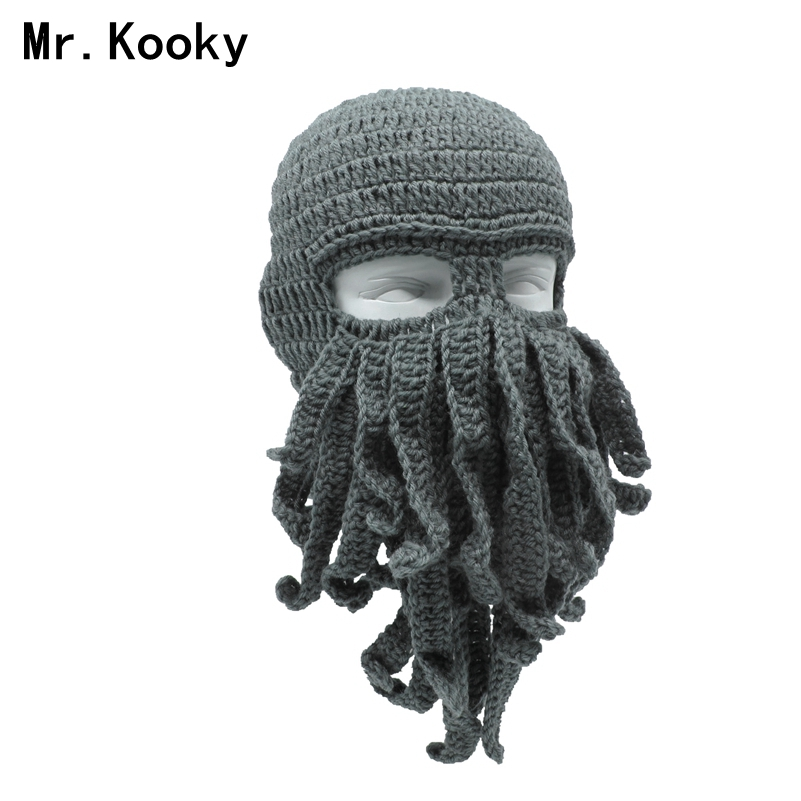Mr. Kooky hecho a mano divertido tentáculo pulpo sombrero ganchillo Cthulhu barba Beanie hombres mujeres Knit Wind Mask Cap Halloween Animal regalo