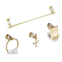 Leyden Zinc Alloy+Crystal Gold 4pcs Bathroom Accessories Set Toilet Paper Holder Towel Ring Clothes Hook Bathroom Hardware Sets