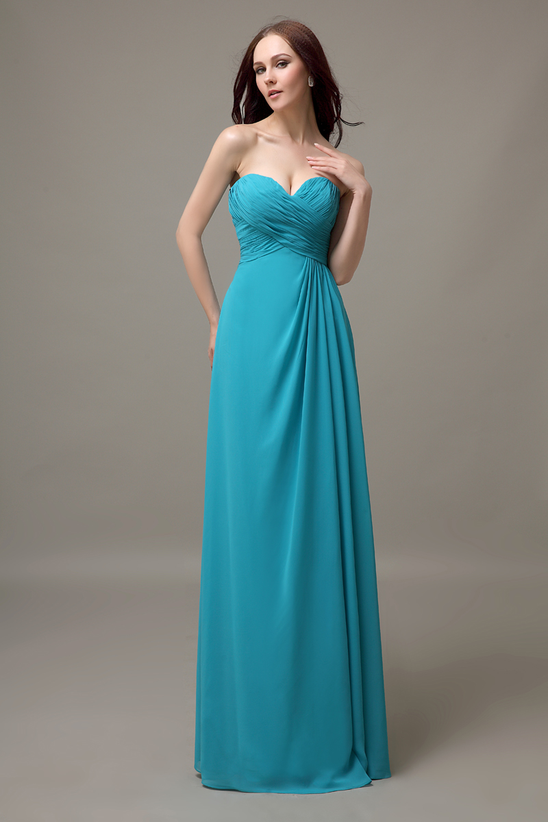 turquoise sweetheart long chiffon cheap simple bridesmaid dress ...