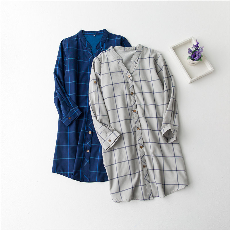 Nightgown female sexy 100% cotton long-sleeve plaid shirt skirt loose medium-long shirt basic shirt sleepwear female