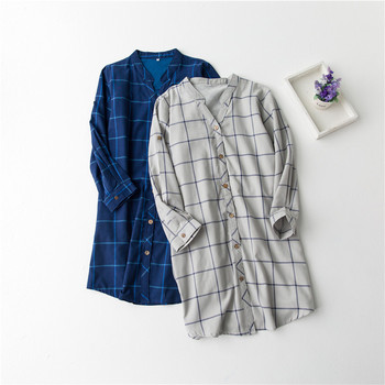 Nightgown female sexy 100% cotton long-sleeve plaid shirt skirt loose medium-long shirt basic shirt sleepwear female  Рубашка