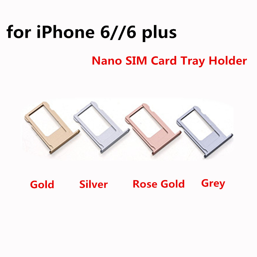 Nano SIM Card Tray Holder For Apple iPhone 6 6 Plus Black Silver Gold Rose Gold Sim Tray Holder Repair Parts