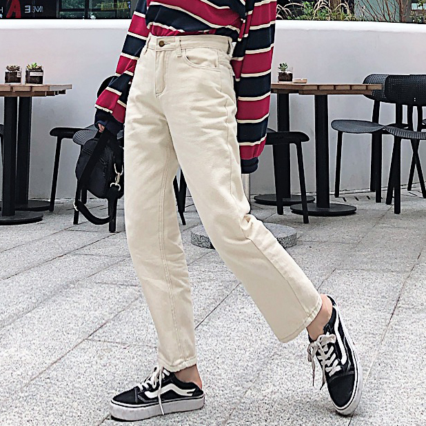 2019 new style street Beige female tide relaxed students retro high waist jeans broad legged  winter.