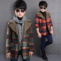 2016 Boys Wool Outerwear Coats Cotton Children Outdoor Winter Trench Kid Fishion Plaid Clothing Autumn Teenage Boy