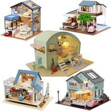 Cute Room Creative DIY Dollhouse Miniature Doll House With 3D LED Furnitures Wooden Model Handmade Toys Gift For Chrildren #E diy miniature doll house casa toys dollhouse wooden model with 3d led furnitures house for dolls handmade toys for children e