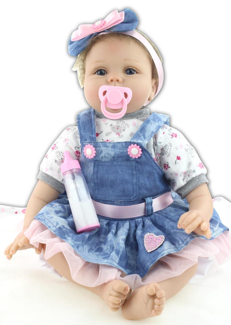 22 Baby-reborn girl doll handmade doll soft silicone vinyl fashion Denim skirt lifelike boneca reborn baby toys for kids lifelike american 18 inches girl doll prices toy for children vinyl princess doll toys girl newest design