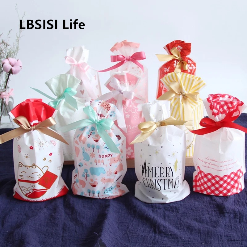 LBSISI Life 50/100pcs Plastic Drawstring Bag Treat With Ribbon Cookie Snack Candy Birthday Party Wedding Favor Gift Bags