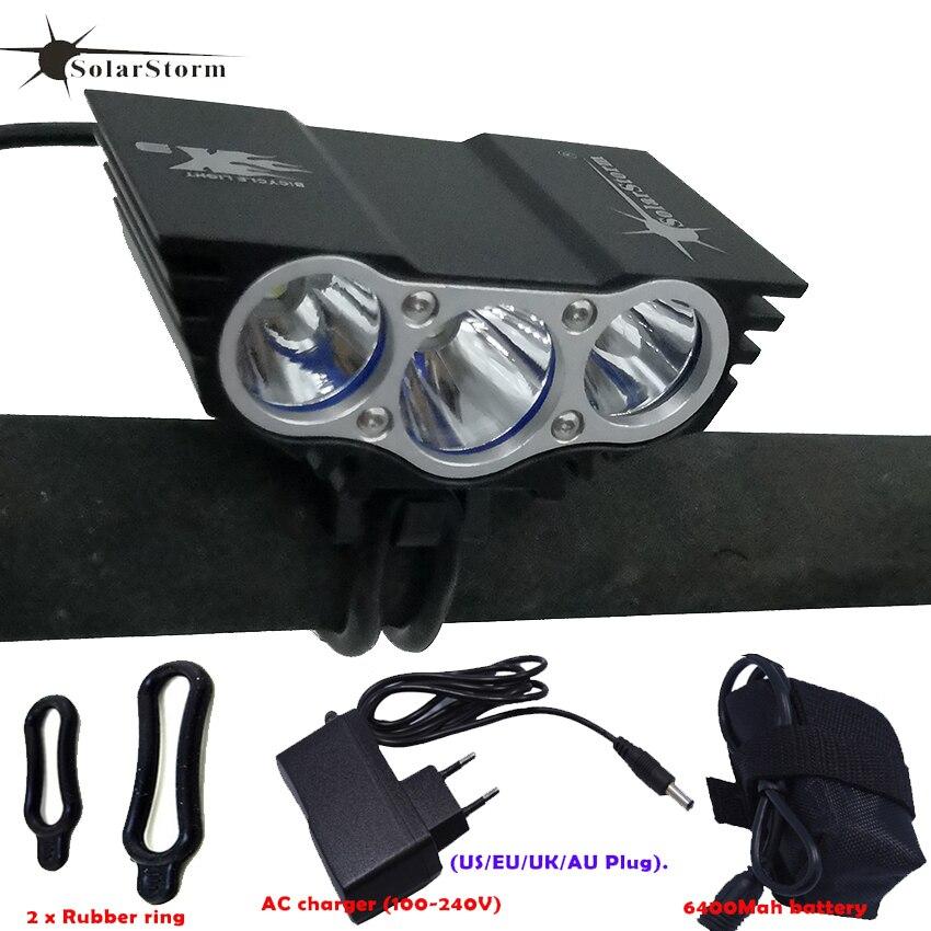 Pacote de bateria recarregável 3xt6 led à prova dpar água luz par luz da bicicleta frente farol 4 modos segurança noite ciclismo lâmpada quadro