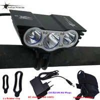 Paquete de batería recargable 3xT6 LED impermeable Luz Par bicicleta frontal bicicleta faro 4 modos seguridad noche ciclismo lámpara marco