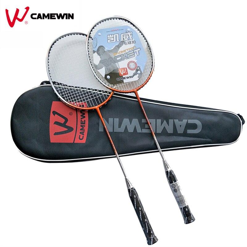 1 paire de raquette de Badminton en aluminium carbone de haute qualité avec sac raquette de Badminton professionnelle de marque CAMEWIN Orange gris noir