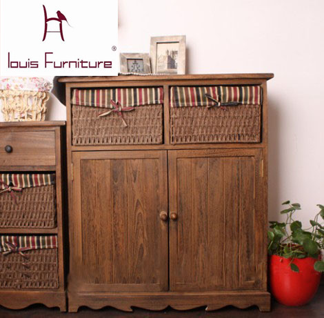 American Country Pastoral Style Storage Cabinets Bedside
