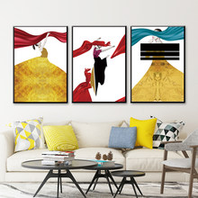 Modern Abstract Female Art Canvas Painting Prints Golden Skirt Beauty Posters Wall Pictures For Living Room Home Decor SID330(China)