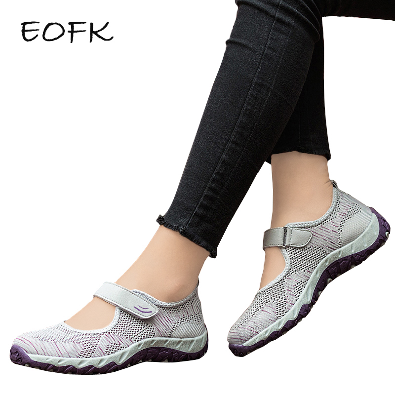 EOFK Women Sneakers Shoes Woman Casual Flats Mary Janes Summer Fabric Hoop & Loop Soft Flat Shoes Comfy Ladies Shoes