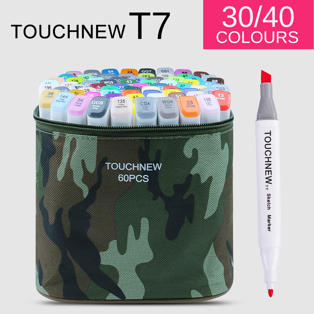 TOUCHNEW T7 30/40 colors dual tips sketch markers camouflage bag for drawing painting design manga art supplies touchnew t6 60 colors dual tips white barrel sketch markers case packed for drawing painting design manga art supplies