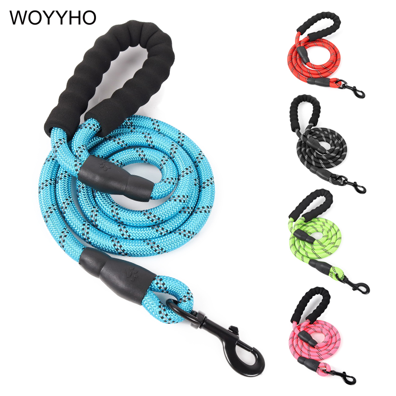 150cm Strong Nylon Pet Dog Leash Reflective Night Safety Outdoor Round Traction Rope Leashes For Medium Large Dogs