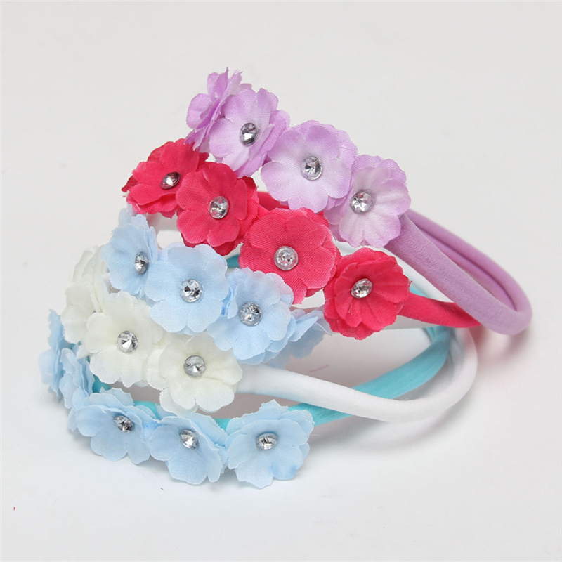 Newborn cotton Headband elasti soft Headband 5 Flower crystal Hair Bow Kids Hair Accessories Photography Prop