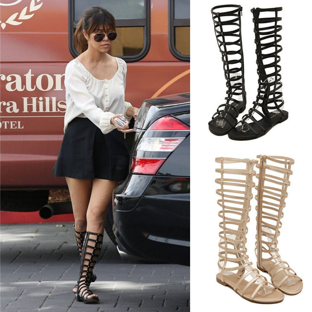 c44a185d6923 New 2016 famous brand same style women sandals fashion casual summer women  knee high boots Gladiator sandals shoes for women