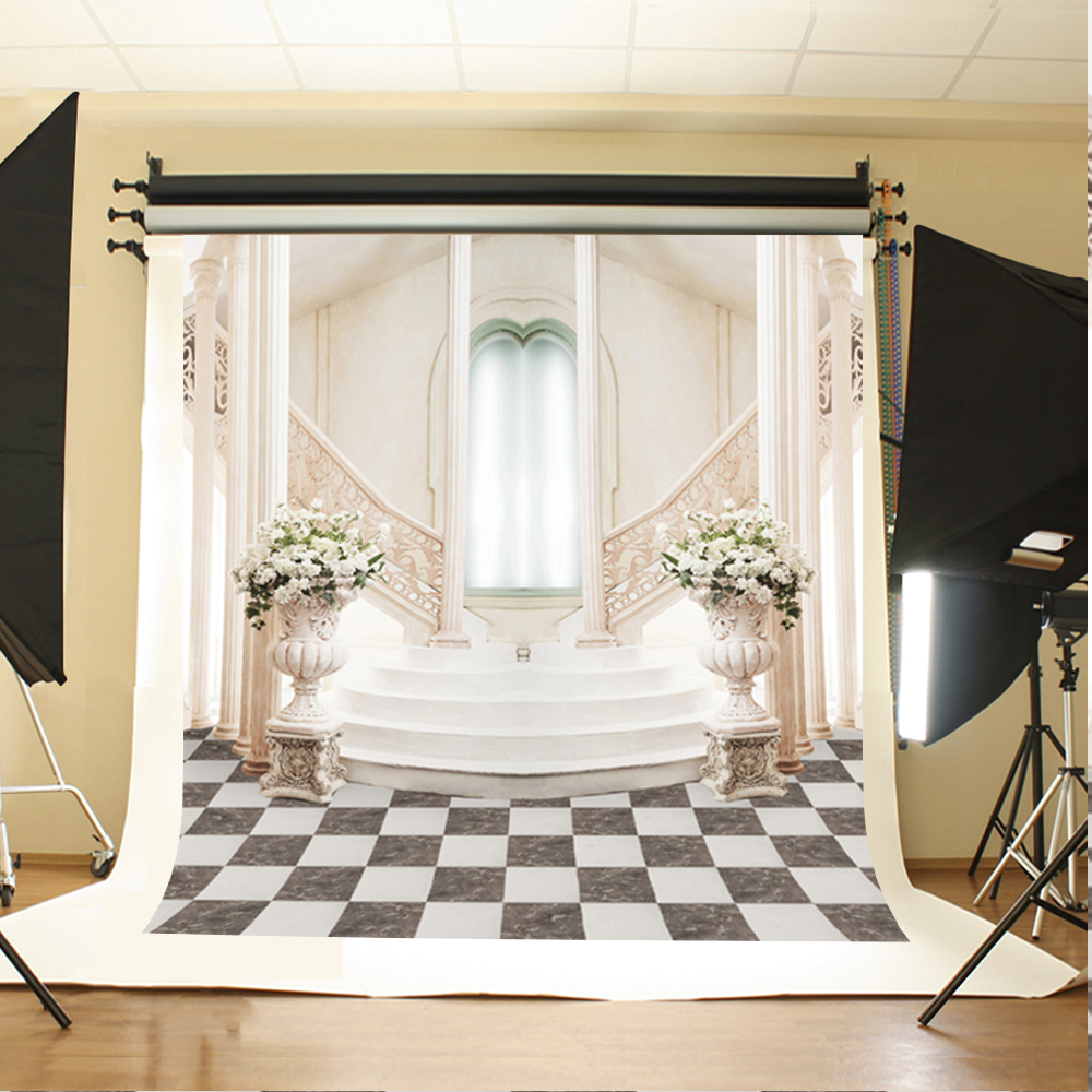 Pics photos desk with flag in background photographic print by - Wedding Photography Backdrops White Flowers Green Leaves Computer Printing Background Stairs Lattice Floor Backdrop For Photos