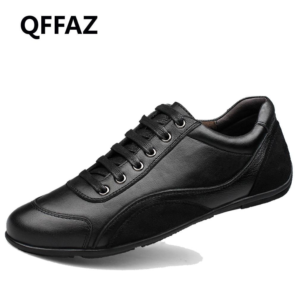 QFFAZ Quality Leather Men Black Shoes Fashion Style Genuine Leather Men Shoes Comfortable Brand Men Casual