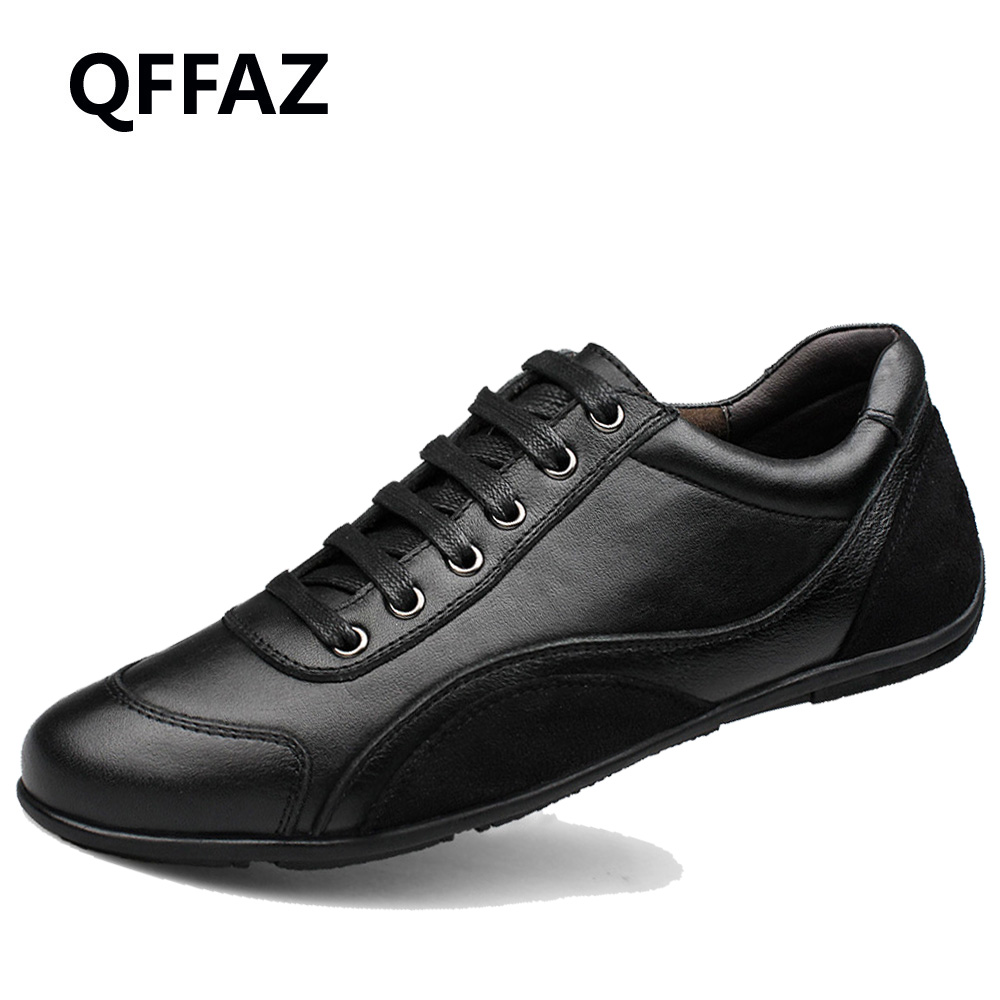 QFFAZ Quality Leather Men Black Shoes Fashion Style Genuine Leather Men Shoes Comfortable Brand Men Casual Shoes Plus Size 39-48 cbjsho brand men shoes 2017 new genuine leather moccasins comfortable men loafers luxury men s flats men casual shoes