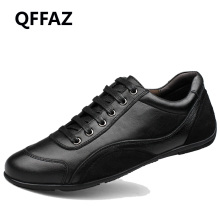 QFFAZ Quality Leather Men Black Shoes Fashion Style Genuine Leather Men Shoes Comfortable Brand Men Casual Shoes Plus Size 39-48