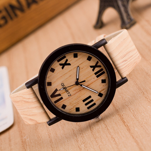 Wooden Quartz Men Watches Casual Wooden Color Leather Strap Watch Wood Male Wris
