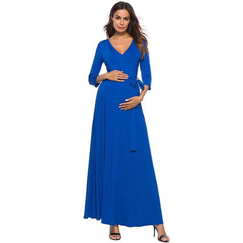 Элегантное однотонное вечернее платье с v-образным вырезом для беременных, Одежда для беременных, длинные платья для беременных, платье для ...