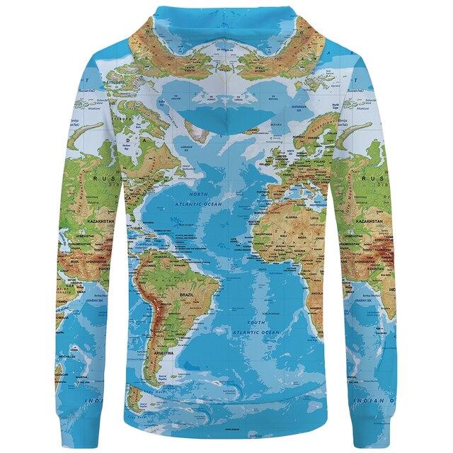 KYKU Brand World Map Sweatshirts Earth Sweat shirt Funny 3d hoodies  Mens Clothing Men Cool Anime Hoody Man 1