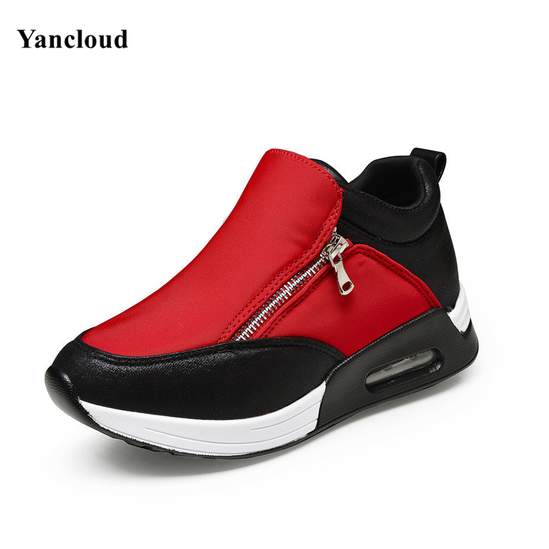 ФОТО Fashion Deep Mouth Color Block Women's Platform Shoes Breathable Thick Bottom Women Casual Shoes Ladies Footwear N242