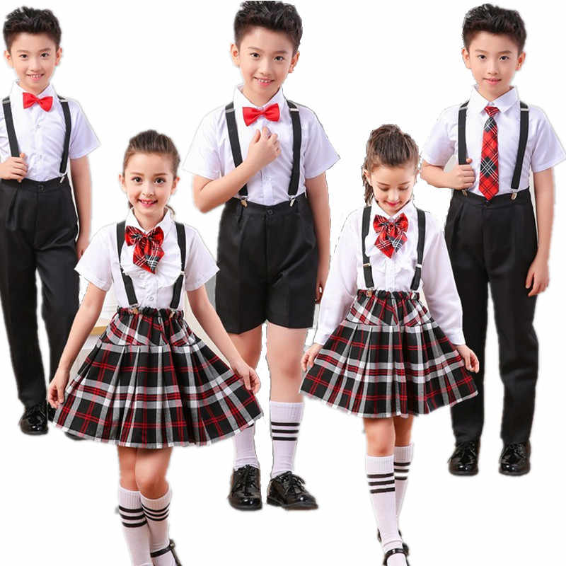 Boy, girl, schoolchildren, uniform, children, spring and summer, poetry, costumes, performance clothing, school girl skirt