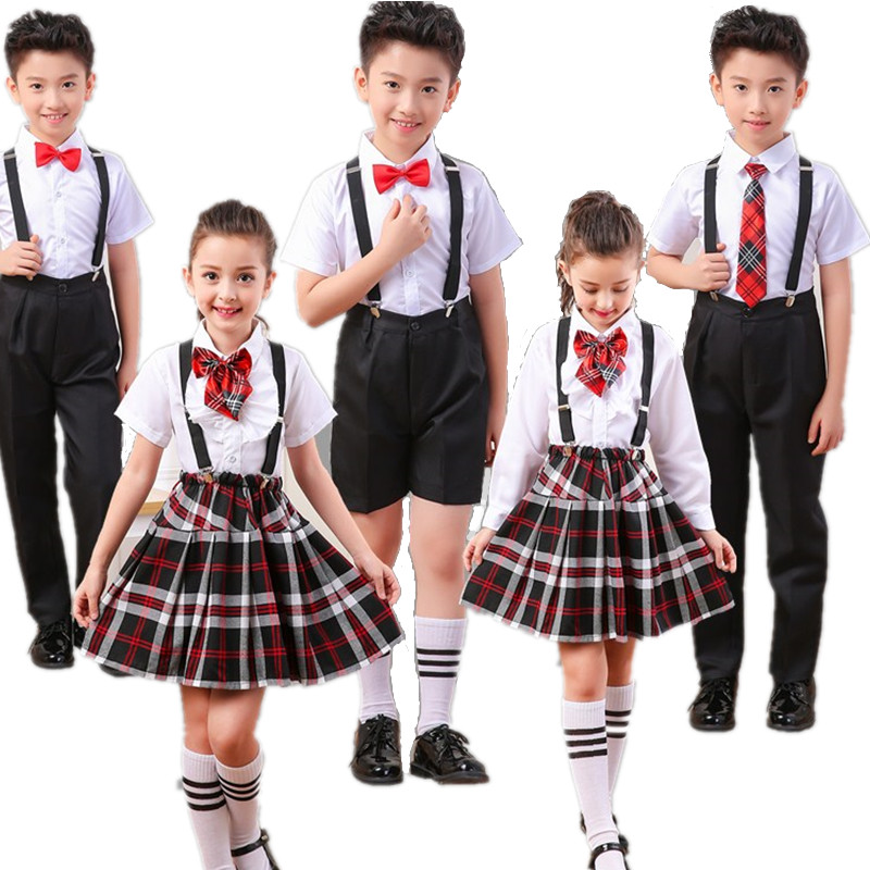 Boy, Girl, Schoolchildren, Uniform, Children, Spring And Summer, Poetry, Costumes, Performance Clothing, School Girl Skirt