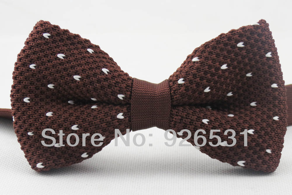 Yibo knitted bowtie/brown/white heart dot shaped big bow ties new British style restoring ancient ways of formal bowknot