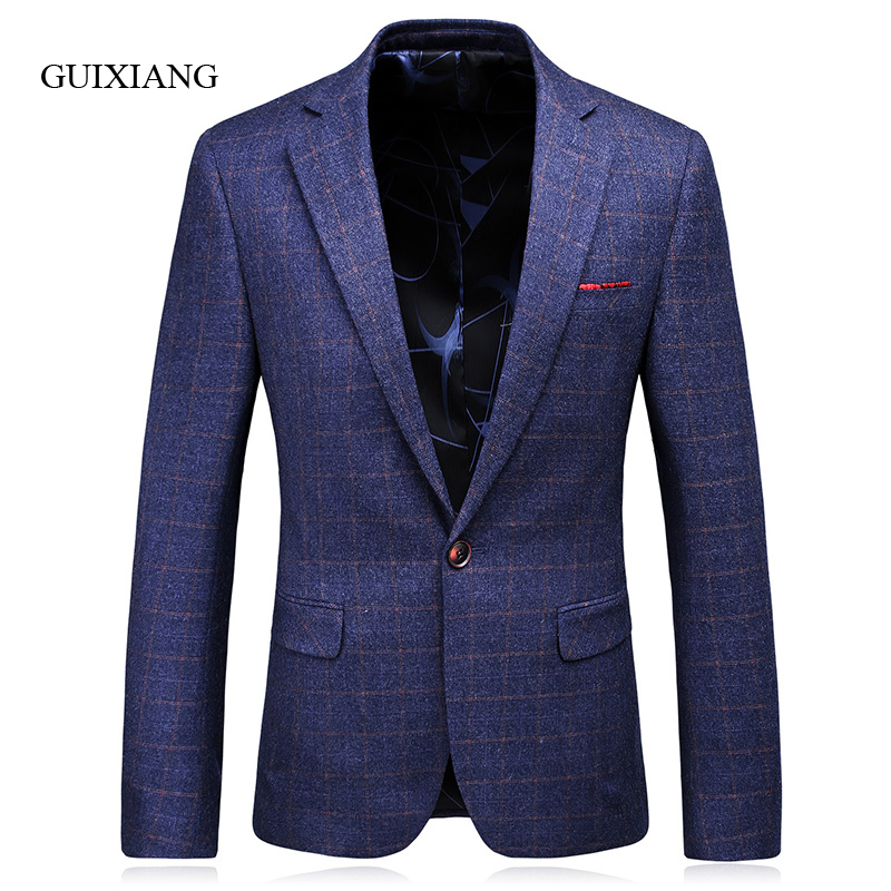 2017 New Arrvial Style men blazers high quality business casual slim plaid one single breasted men suit jacket large size S 3XL