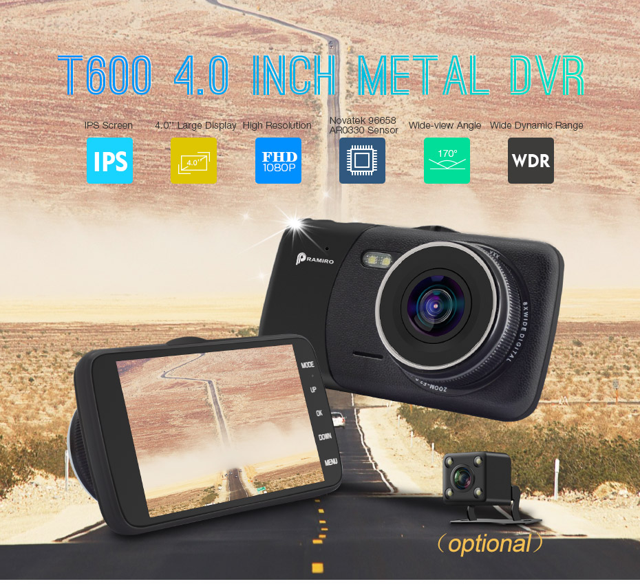 Car DVR Car Camera T600 Original 4.0 Inch IPS Screen Dash Camera Full HD 1920*1080P Dual cam video recorder 170 Degree Dash Cam