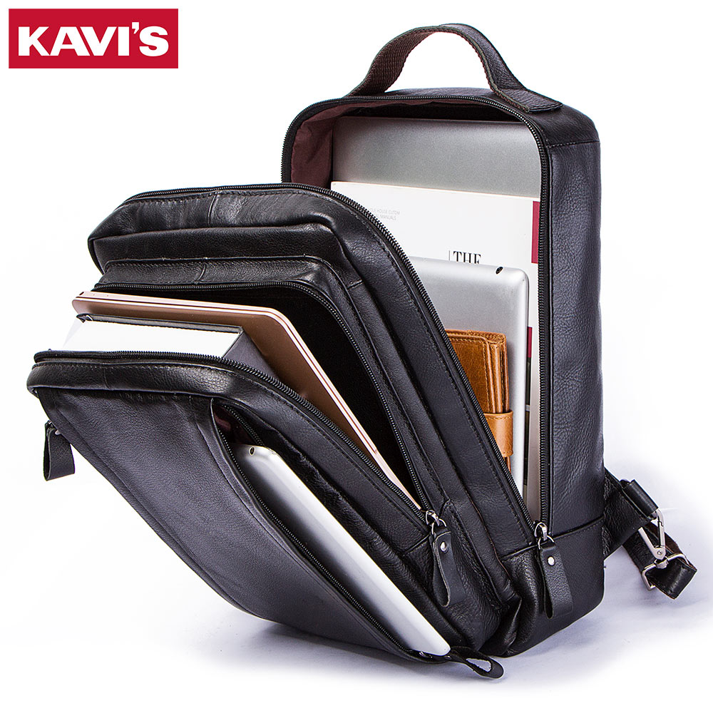 Kavis New Genuine Leather Backpack Mens For Laptop Black Patchwork Large Capacity Travel Casual School Bag Schoolbag Top Quality