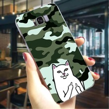 Middle finger cat Hard Cover for Samsung Galaxy Note 9 Print Phone Case M10 M20 M30 S6 S7 Edge Back Skin