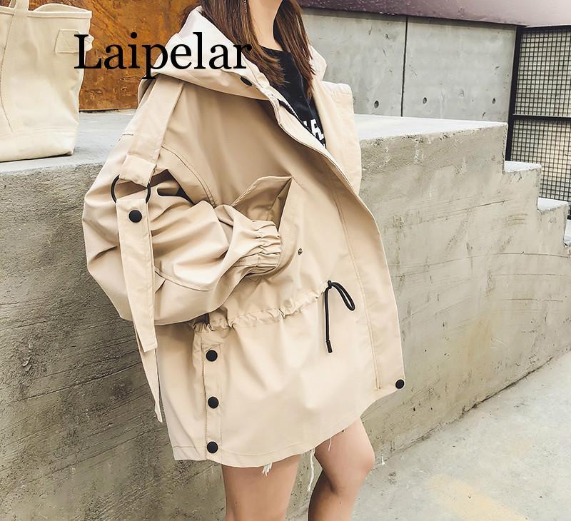 Laipelar 2019 spring Autumn Casual   Trench   coat for women Pleated Zipper Hooded Short Windbreaker Female Loose Plus size coat