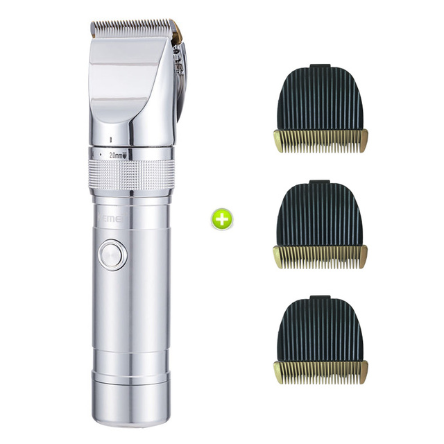 88085dfc3 Kemei cabelo recarregável clipper aparador de pêlos máquina de corte de  cabelo homens aparador de barba