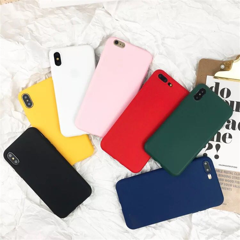 Solid Color Phone Case For IPhone 5 SE 5s 6 6s 7 8 Plus X XR Soft Protective Anti-fall